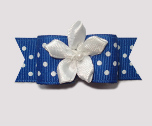 "#1963 - 5/8"" Dog Bow - Blue & White Swiss Dots, White Florette"