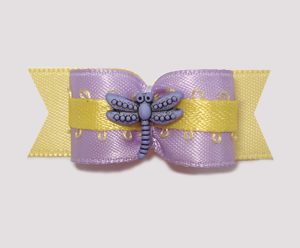 "#1964 - 5/8"" Dog Bow - Dragonfly Delight, Lavender & Yellow"