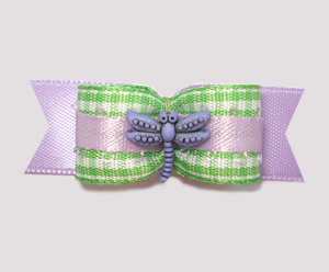 "#1966 - 5/8"" Dog Bow - Dragonfly Picnic, Green Gingham, Lavender"