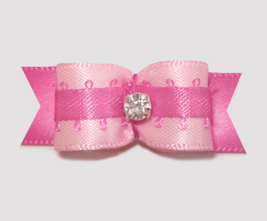 "#1969 - 5/8"" Dog Bow - Pretty in Pink, Sparkling Rhinestone"