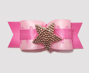 "#1971 - 5/8"" Dog Bow - Pretty in Pink, Star"