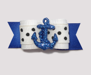 "#1980 - 5/8"" Dog Bow - Nautical Bling, Blue Sparkly Anchor"