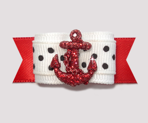 "#1981 - 5/8"" Dog Bow - Nautical Bling, Red Sparkly Anchor"