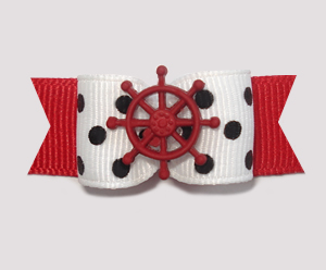 "#1985 - 5/8"" Dog Bow - Nautical, Chic B&W Dots, Red Wheel"
