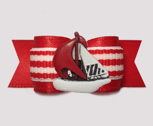"#1986 - 5/8"" Dog Bow - Nautical Stripes, Red & White Sailboat"