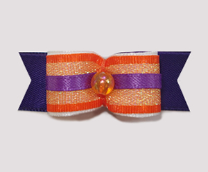 "#1990 - 5/8"" Dog Bow - Fun Purple and Orange Shimmer"
