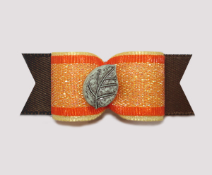 "#1992 - 5/8"" Dog Bow - Fallen Autumn Leaf, Orange Shimmer"