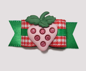 "#2007 - 5/8"" Dog Bow - Pink Bling Strawberry, Adorable Gingham"
