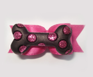 "#2008 - 5/8"" Dog Bow - Bling Bone, Black & Pink"