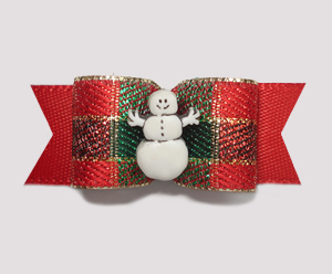 "#2027 - 5/8"" Dog Bow - Custom Center - Sparkly Festive on Red"