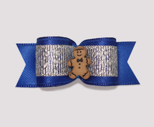 "#2033 - 5/8"" Dog Bow - Sweet Gingerbread, Blue/Silver"