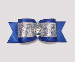 "#2034 - 5/8"" Dog Bow - Sparkly Splendor, Blue/Silver"