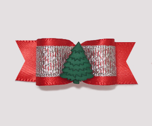 "#2037 - 5/8"" Dog Bow - Little Winter Evergreen, Red/Silver"