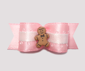 "#2045 - 5/8"" Dog Bow - Sweet Little Gingerbread, Baby Pink"