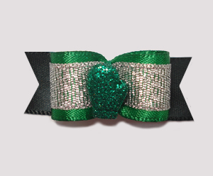 "#2047 - 5/8"" Dog Bow - Sparkly Winter Mitten, Green"
