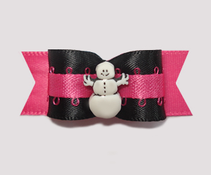 "#2052 - 5/8"" Dog Bow - Unique. Dramatic. Fun! Cute Snowman, Pink"