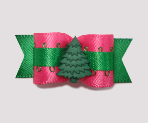"#2053 - 5/8"" Dog Bow - Very Cool Evergreen, Hot Pink/Green"