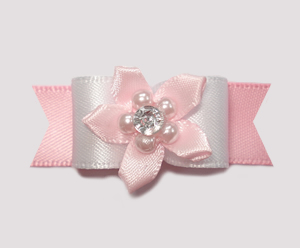 "#2057 - 5/8"" Dog Bow - Adorable White & Baby Pink, Gem Florette"