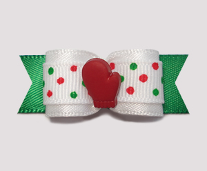 "#2060 - 5/8"" Dog Bow - Festive Dots, Cute Red Mitten"