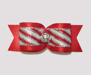 "#2061 - 5/8"" Dog Bow - Sweet Candy Cane Stripe, Red & Silver"