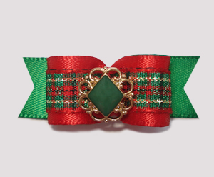 "#2063 - 5/8"" Dog Bow - Classic Holidays, Green/Gold/Red Plaid"