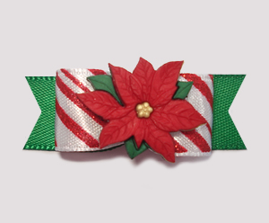 "#2064 - 5/8"" Dog Bow - Candy Cane Delight, Green with Poinsettia"