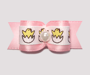 "#2071 - 5/8"" Dog Bow - Sweet Baby Chicks, Pink Satin"