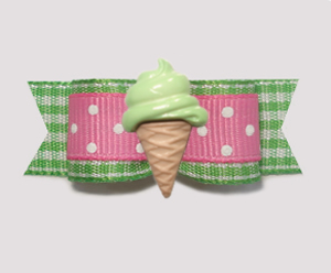 "#2081 - 5/8"" Dog Bow - Spring Picnic, Mint Ice Cream Cone"