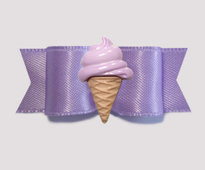 "#2092 - 5/8"" Dog Bow - Lavender Satin, Grape Ice Cream Cone"