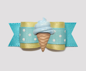 "#2095 - 5/8"" Dog Bow - Sweet Baby Yellow/Blue, Blue Ice Cream"