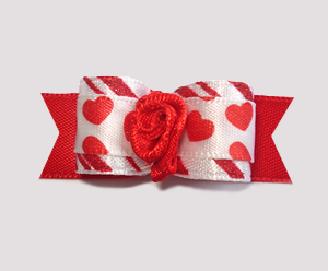 "#2102 - 5/8"" Dog Bow - ""I Luv You"" Hearts, Red Rosette"
