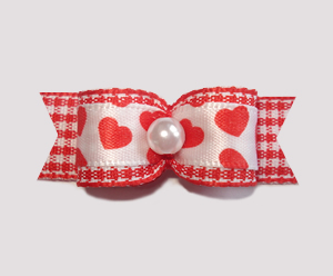 "#2104 - 5/8"" Dog Bow - Country Love, Red/White Gingham 'n Hearts"