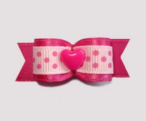 "#2105 - 5/8"" Dog Bow - Love Bow, Hot Pink with Cute Dots, Heart"