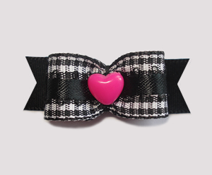"#2106 - 5/8"" Dog Bow - Adorable B/W Gingham with Hot Pink Heart"