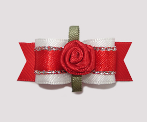 "#2110 - 5/8"" Dog Bow- Gorgeous White/Red Satin, Sparkle, Rosette"