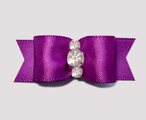 "#2124 - 5/8"" Dog Bow - Satin, Orchid Purple,Triple Rhinestones"