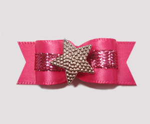"#2125 - 5/8"" Dog Bow - Fit for a Star, Hot Pink w/Sparkle"
