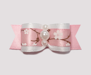 "#2130 - 5/8"" Dog Bow - Sweet Spring Apple Blossoms, Pink/White"