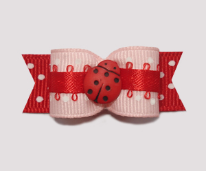 "#2150 - 5/8"" Dog Bow - Cute Girly Ladybug, Pink/Red/White Dots"