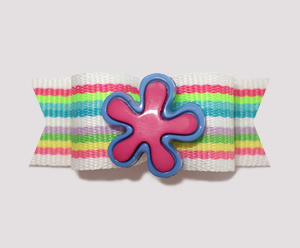 "#2160 - 5/8"" Dog Bow - Bright Summer Stripes, Pink/Blue Flower"