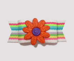 "#2161 - 5/8"" Dog Bow - Bright Stripes, Orange Flower"