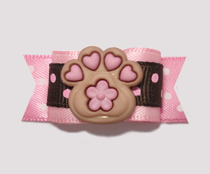 "#2164 - 5/8"" Dog Bow - Pawsitively Full of Love, Chocolate/Pink - Click Image to Close"
