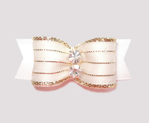 "#2169 - 5/8"" Dog Bow - Razzle Dazzle, Angelic White"