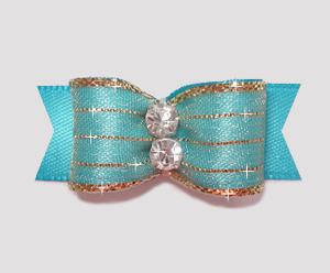 "#2178 - 5/8"" Dog Bow - Razzle Dazzle, Electric Blue"
