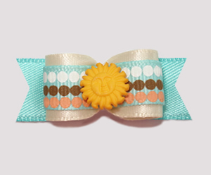 "#2186 - 5/8"" Dog Bow - Smiling Sunshine, Sandy Beige/Blue"