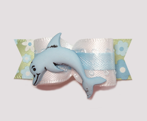 "#2188 - 5/8"" Dog Bow - Delightful Dolphin, White/Blue/Floral"