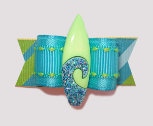 "#2189 - 5/8"" Dog Bow - Fun Bling Surfboard, Aqua/Lime"