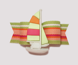"#2191 - 5/8"" Dog Bow - Fun Sailboat, Bright Citrus Stripes"
