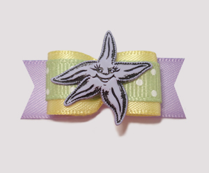 "#2193 - 5/8"" Dog Bow - Sweet Starfish, Yellow/Green/Lavender"