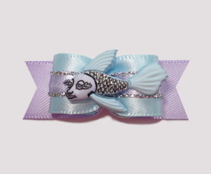 "#2196 - 5/8"" Dog Bow - Sparkly Fish, Pale Blue & Lavender"